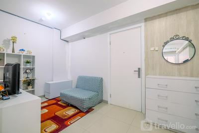 Furnished Green Pramuka 1BR Apartment with Modern Style and City View By Travelio